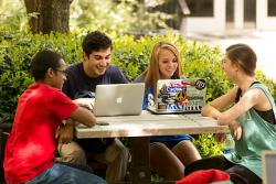 Students collaborating in UGA's Biological Sciences Courtyard